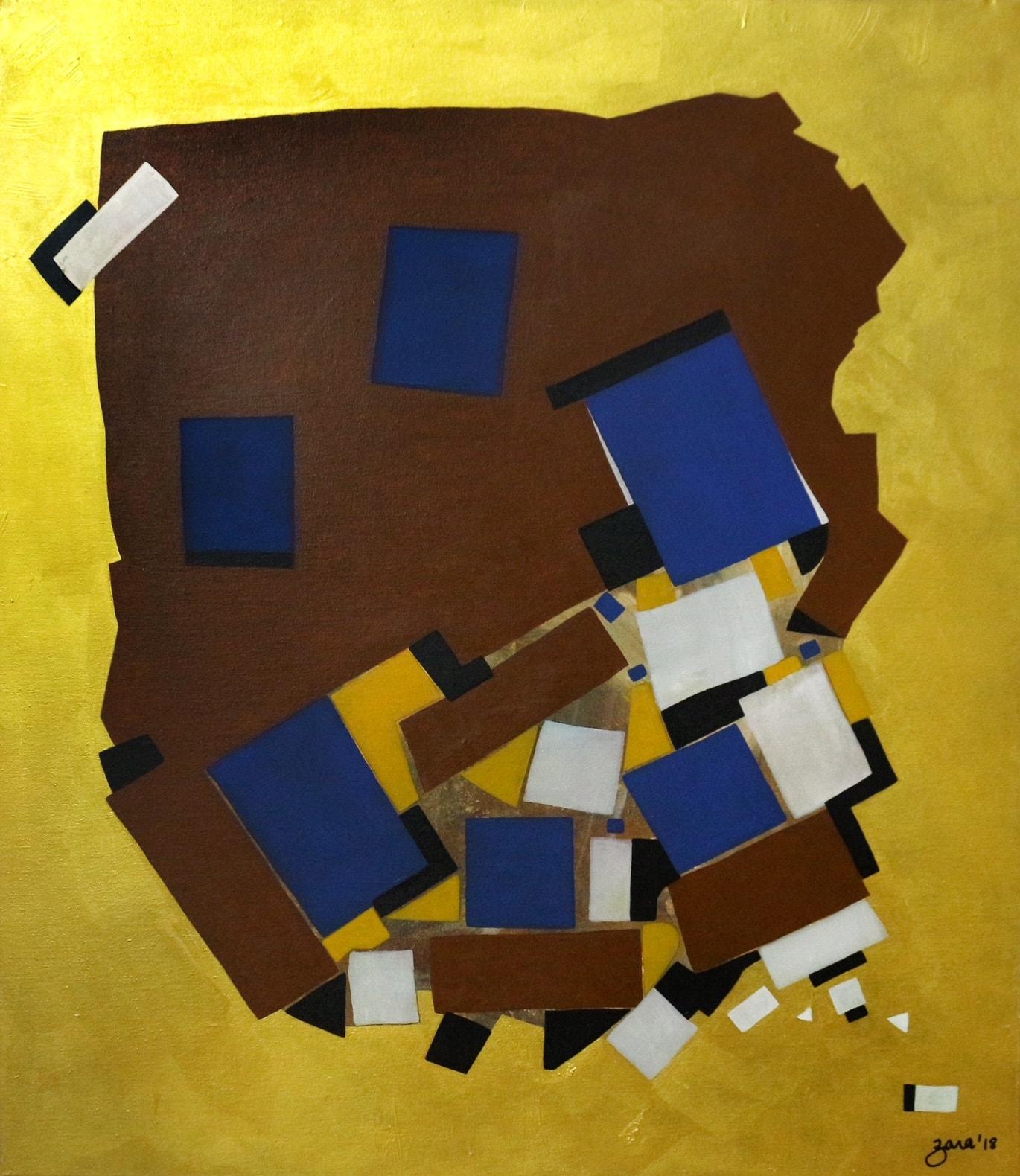 Dislogded, 36 x 42 Inch, Acrylic on Canvas, AC-ZRK-014