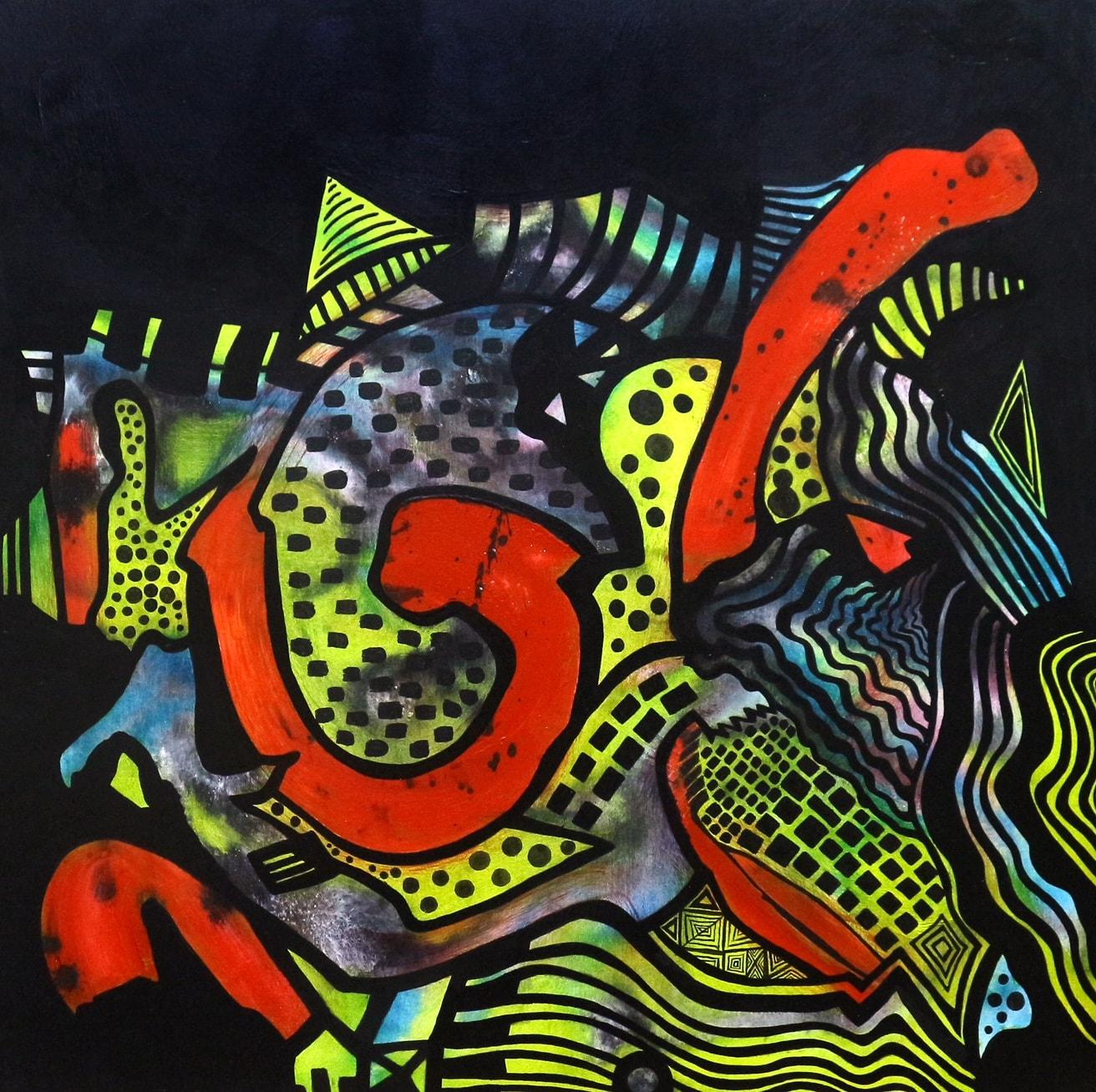 Dissimilar, 36 x 36 Inch, Acrylic on Canvas, AC-ZRK-005