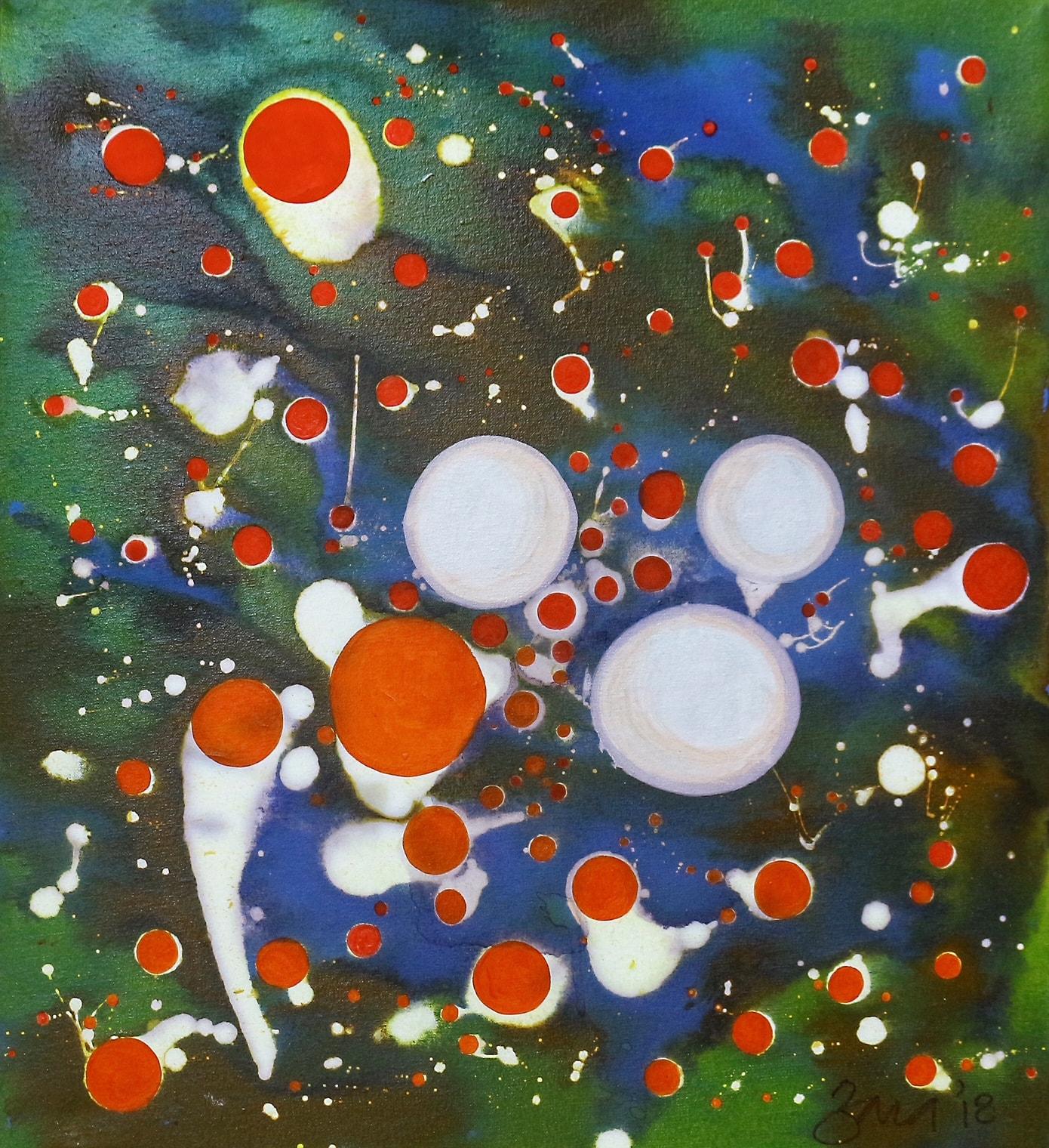 Dissociated II, 18 x 20 Inch, Mixed Media on Canvas, AC-ZRK-018